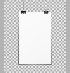 Hang poster a3 a4 mockup on wall blank paper vector
