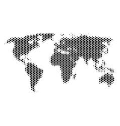 Hexagon halftone world map vector