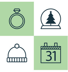 Holiday icons set collection of magic sphere vector