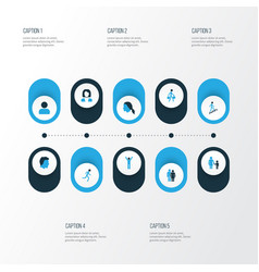 Human colorful icons set collection of head vector