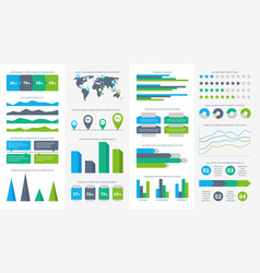 infographics set charts diagrams and graphs vector image