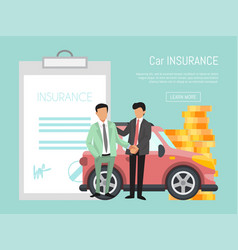 Insurance agent and businessman are shake hands vector