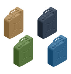 Isometric metal fuel container jerrycans canister vector