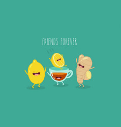 lemon tea and ginger friends vector image