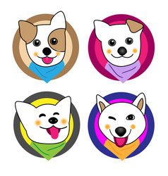 Little dog smiled in circle and neckwe vector