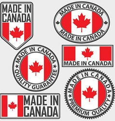 Made in Canada label set with flag vector