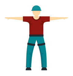 Man ready for zip line icon flat style vector