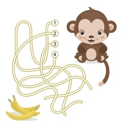 Maze Game for Preschool Children with Monkey and vector image
