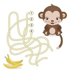 maze game for preschool children with monkey vector image