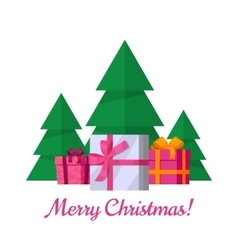 Merry Christmas Concept in Flat Design vector