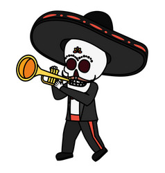 Mexican skull mariachi playing trumpet vector
