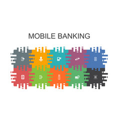 Mobile banking cartoon template with flat elements vector