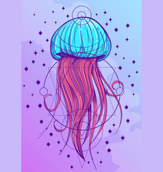 most jellyfish posterin the style of pastel goth vector image