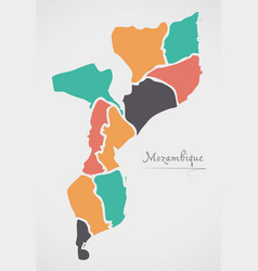 Mozambique map with states vector