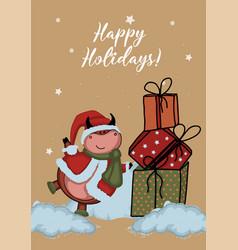 new year card year bull christmas tree vector image