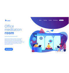 Office meditation booth concept landing page vector