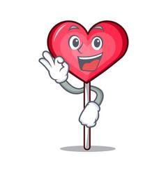 Okay heart lollipop character cartoon vector