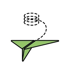 Paper plane flying toy line dotted vector