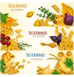 Pasta banners with cooking ingredients vector