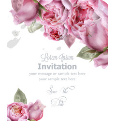 peony flowers watercolor invitation card vector image
