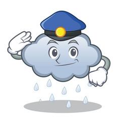 police rain cloud character cartoon vector image