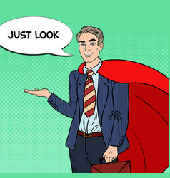 Pop art happy super businessman in red cape vector