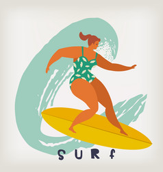 poster with surfer on surfboard catching waves in vector image