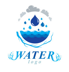 Pure water abstract logotype for use in mineral vector