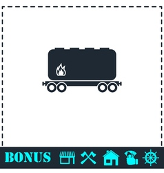 Railroad tank icon flat vector