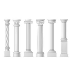 realistic column classic antique white columns vector image