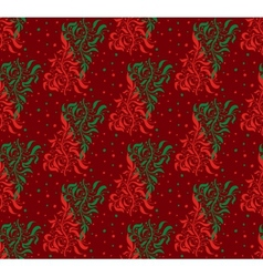 Red and Green Floral Seamless Pattern vector image