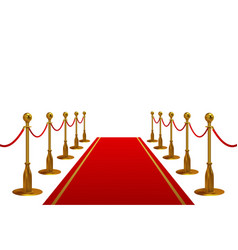 Red carpet with golden barriers and rope vector