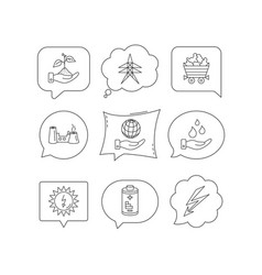 save nature planet and water icons minerals vector image