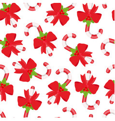 seamless pattern of christmas sugar cane vector image