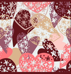 seamless pattern with cute hearts ornament vector image