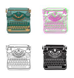 Set 4 pastel vintage typewriters vector