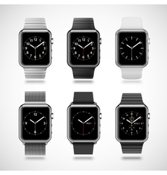 Set of 6 modern shiny smart watches vector image