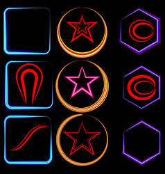 set of neon frames in the form of a square and a vector image