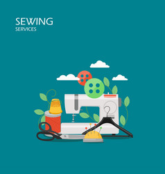 sewing services flat style design vector image