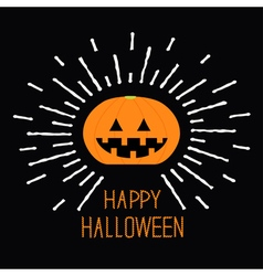 Shining pumpkin dash line halloween card for kids vector