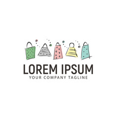 Shopping bag hand drawn logo design concept vector