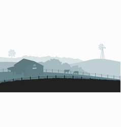 Silhouettes farm landscape rural panorama vector