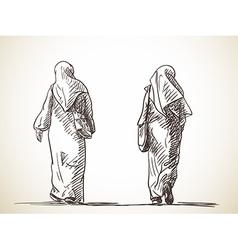 Sketch two muslim women walking back view hand vector