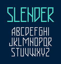 Slender thin style font vector