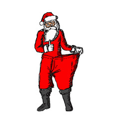 Slim santa claus with red loose pants vector