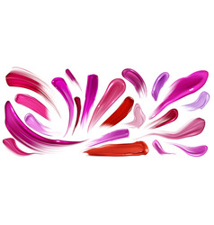 Smears lipstick nail polish brush strokes set vector