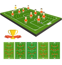 Soccer team clip-art with different strategy vector image