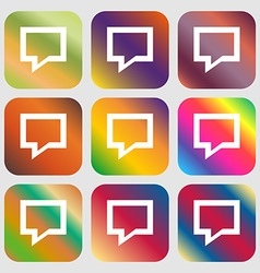 Speech bubble Think cloud icon Nine buttons with vector image