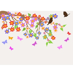 spring flower tree background vector image