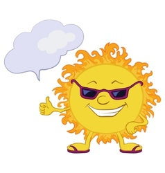 Sun smiley with glasses vector